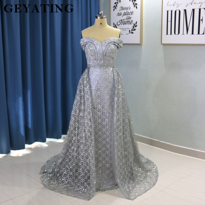 Saudi Arabic Dark Green Mermaid Evening Dress Long Detachable Train Prom Dresses 2019 Dubai Turkish Off Shoulder Evening Gowns 5