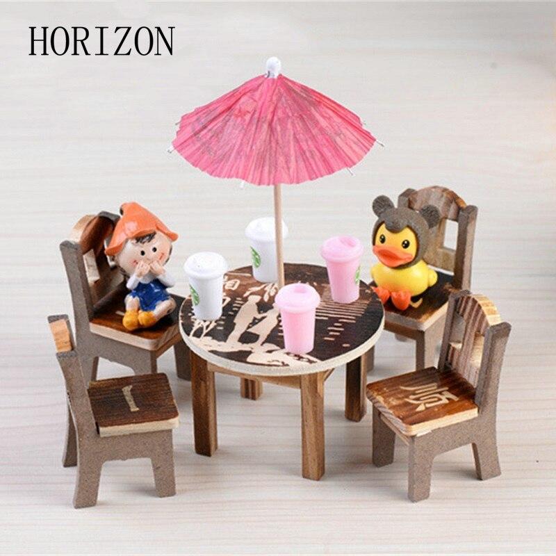 unidades sillas mesas de madera heces escritorio modelo ornamento terrarios musgo paisaje micro miniaturas artesanales