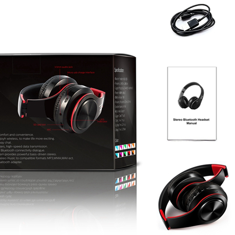Hangrui Wireless Bluetooth Headphone Foldable Headset With Microphone Portable Dual Stereo Earphone Support TF Card With Package