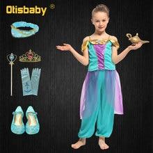 Xmas Girls Kid Summer Jasmine Princess Dance Dress Children Aladdin Halloween Party Performance Costume Top Pants Clothing Set