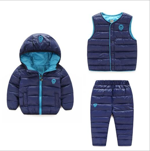 Children Clothing Set Boys&Girls Winter Suits  3Pcs Hooded Down Jacket + Pants+ Vest Waterproof Snow Warm kids Clothes Suit kids ski suits snow suits for girls children boys snowsuit down cotton jacket winter overalls child winter thicken clothing