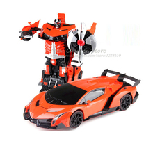 Remote Control RC RobotsCars Transformation Transform Toy Light Sound Dance Electric Car Models Action Toy Boy