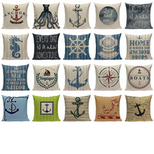 Anchor ship Throw Pillow Cover Bedding Camping Hotel Office Home ocean  Fabric For Furniture Pillowcase ocean style oblique striped anchor pattern square shape flax pillowcase without pillow inner