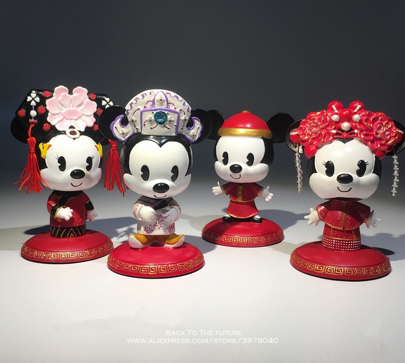Disney Mickey Mouse Minnie Marry Chinese Style 7-9cm Action Figure Anime Decoration Collection Figurine Toy Model For Children