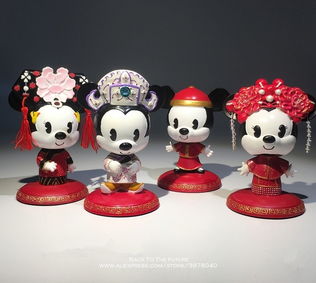 Disney Mickey Mouse Minnie Marry Chinese style 7 9cm Action Figure Anime Decoration Collection Figurine Toy model for children