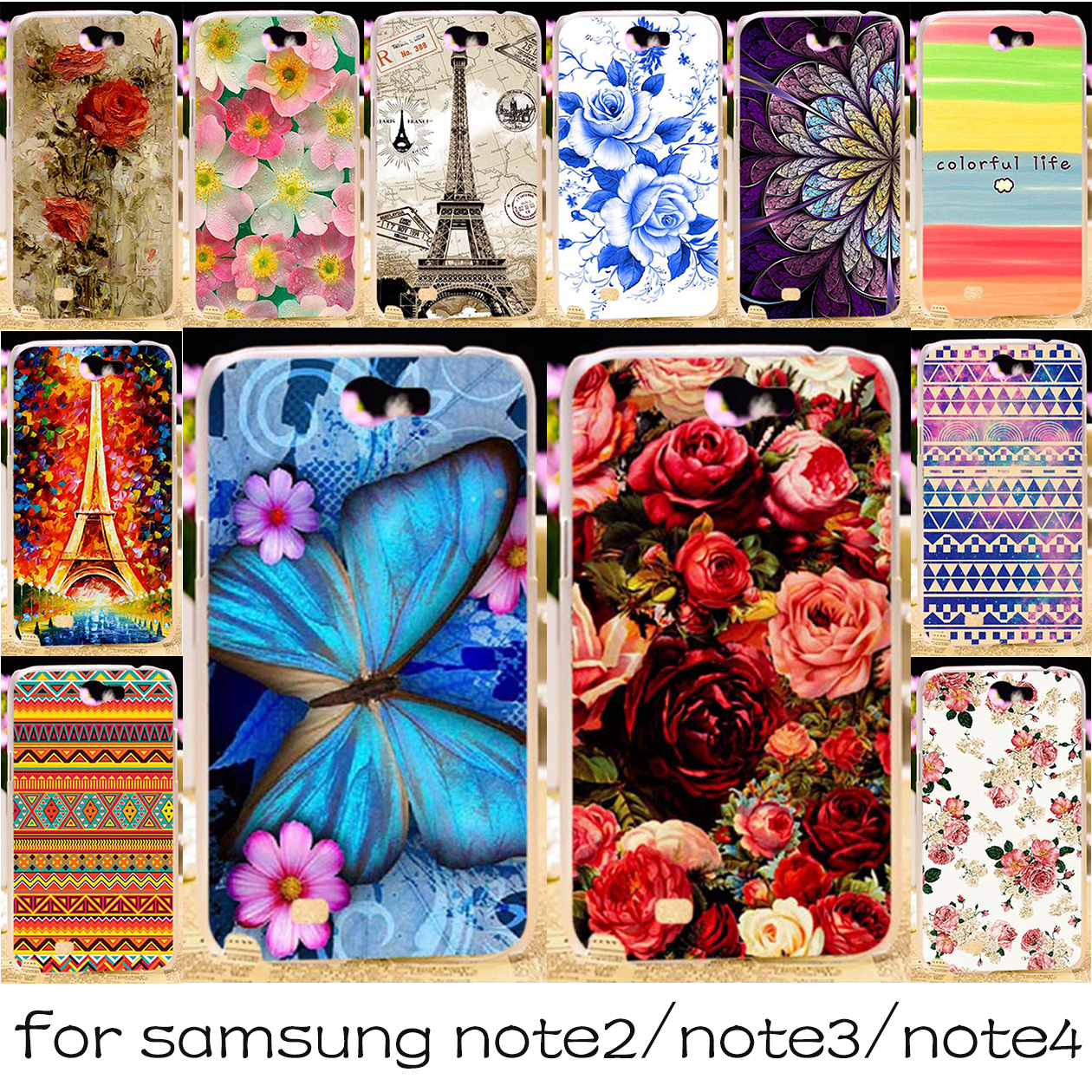 Silicone OR Plastic Mobile Phone Case For Samsung Galaxy Note 2 3 4 N7100 N9000 N9100 Note2 Note3 Note4 Cover HousingShell