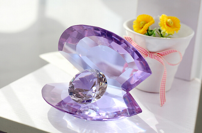 Free Shipping, Lovely 80MM Purple Crystal mussel shelln with diamond decoration Wedding Decoration Gifts Home Decoration