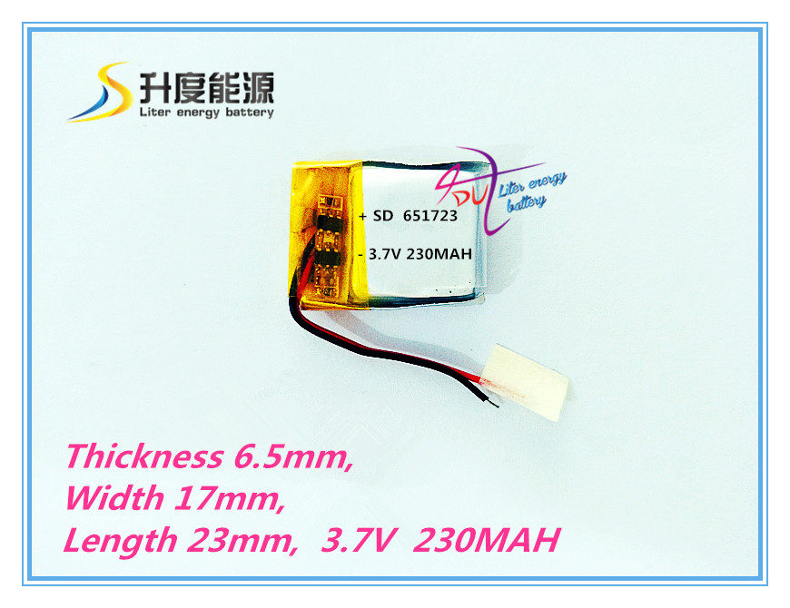 Washington Supply 651723 3.7V 230MAH polymer lithium battery , voice recorder battery , lithium polymer battery low supply polymer lithium battery manufacturers