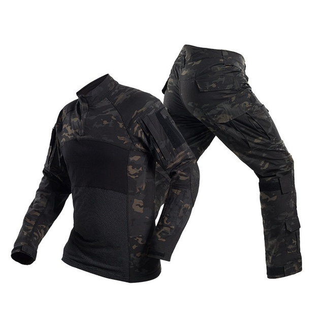 Camouflage Military Army Tactical Uniform Set Multicam Black Combat Shirt BDU Pants Men Hunting Clothes Airsoft Sniper Clothing 3