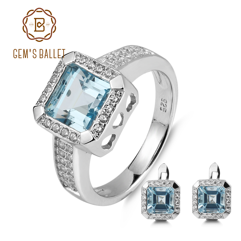 GEM S BALLET 7 84ct Oval Natural Sky Blue Topaz Jewelry Set 925 Sterling Silver Earrings