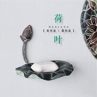 Creativo Cinese Classico Forniture Bagno di Sapone Portasapone Resina Intagliato Foglia di Loto Scatola di Sapone YM003