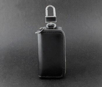 Genuine Leather Wallet Mens Womens Key Rings Holder Chain Wallet Case black KW7
