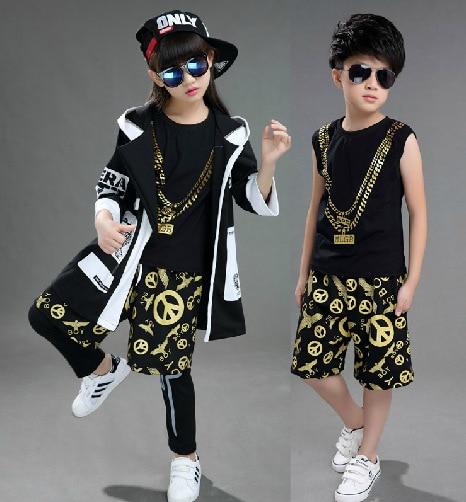 Boy hip hop clothing Boys and girls dancing suit Children Set tiger costume 4 pcs