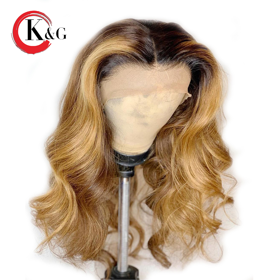 KunGang Body Wave Ombre Color lace Front Wigs With Baby Hair Ombre 1B 27 Brazilian Remy