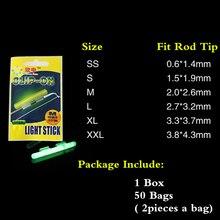 100cs/50bags Chemical Fishing Light Sticks Clip-on Fishing Rod Tip Glow Sticks Fluorescent Fishing Light Sticks Fish Bait Alarm
