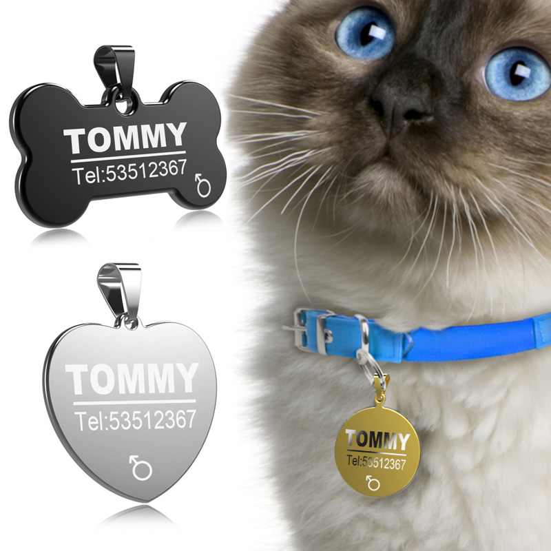 FLOWGOGO Stainless Steel Pet Cat Dog ID Tag Engraved Anti-lost Cat Small Dog Collars Accessories Cat Necklace ID Name Tags image