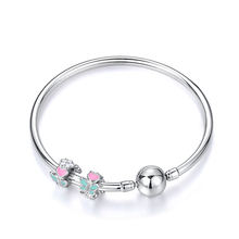 Silver Charm Bangles Pink Love Heart Butterfly Flower Beads 925 Sterling DIY Bracelets & For Women