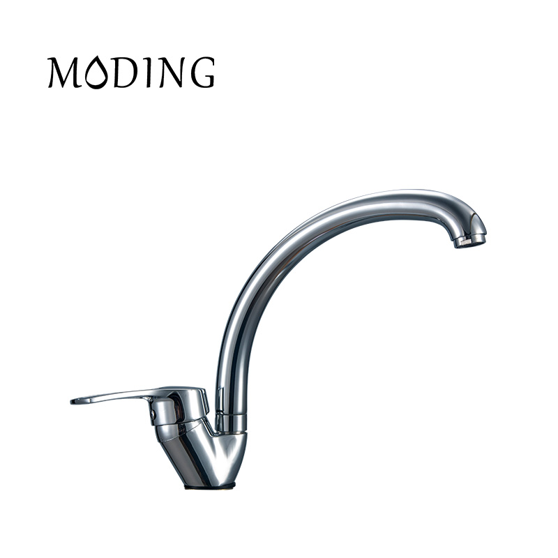 MODING Faucet Tap Stainless Steel Faucet Water Tap Square Handle Bottom Curved Kitchen Water Sink Mixer