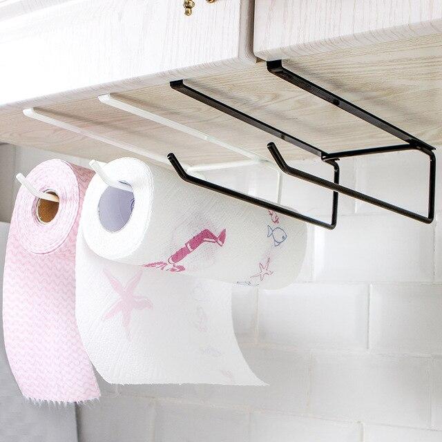 Prateleira De Armazenamento De cozinha Armário de Cozinha Rolo de papel Higiênico Do Banheiro Suporte de Toalha de Papel Pendurado Rack de Aço Tainless Organizador Cozinha
