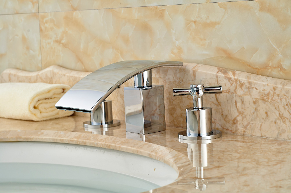 Luxury Chrome Brass Deck Mounted Bathroom Basin Sink Faucet Waterfall Mixer tap 2 Handles 3PCS ouboni 3pcs set bathtub luxury golden plated bathroom faucet european split basin mixer tap ceramic faucet body cross handles