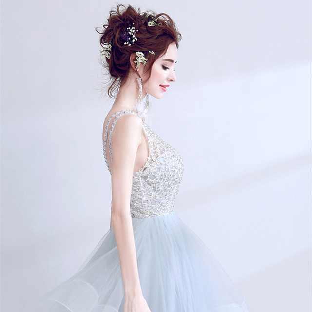 Elegant Women Evening Dress Grey Backless Formal Wedding Party Dresses Prom Gowns Birthday Reception Robe de