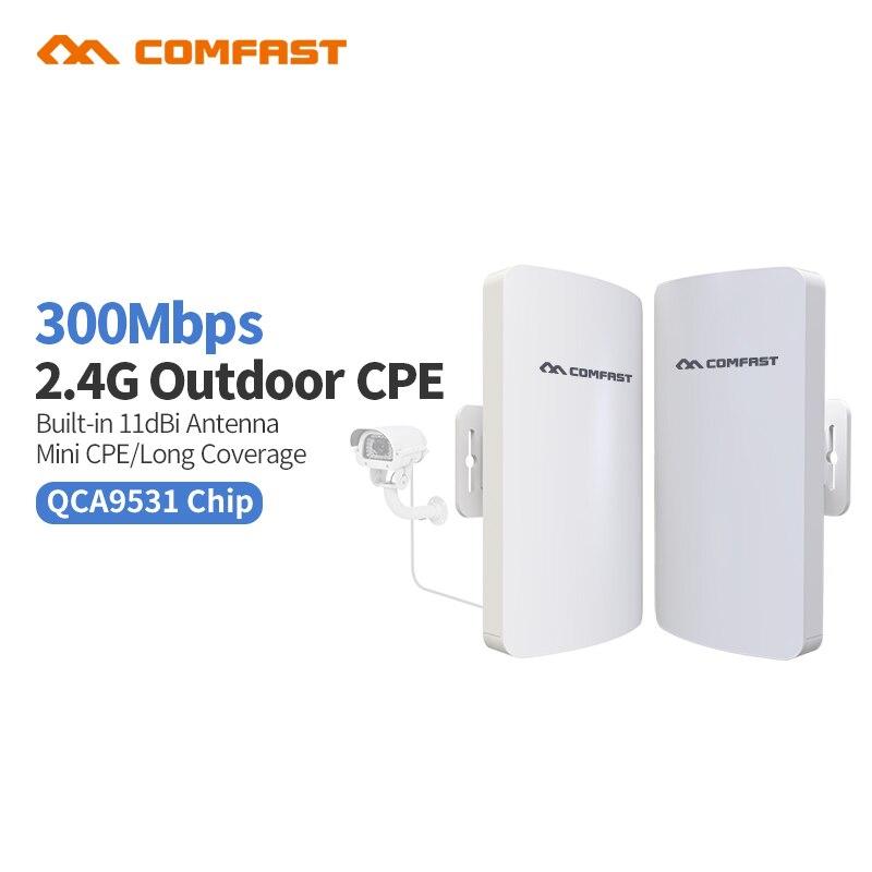 2 pc Comfast Extérieur Km WIFI D'amplification Repeater2 300 Mbps Routeur Sans Fil Repitidor Signal Extenseur Amplificateur CF-E110V2 Pont