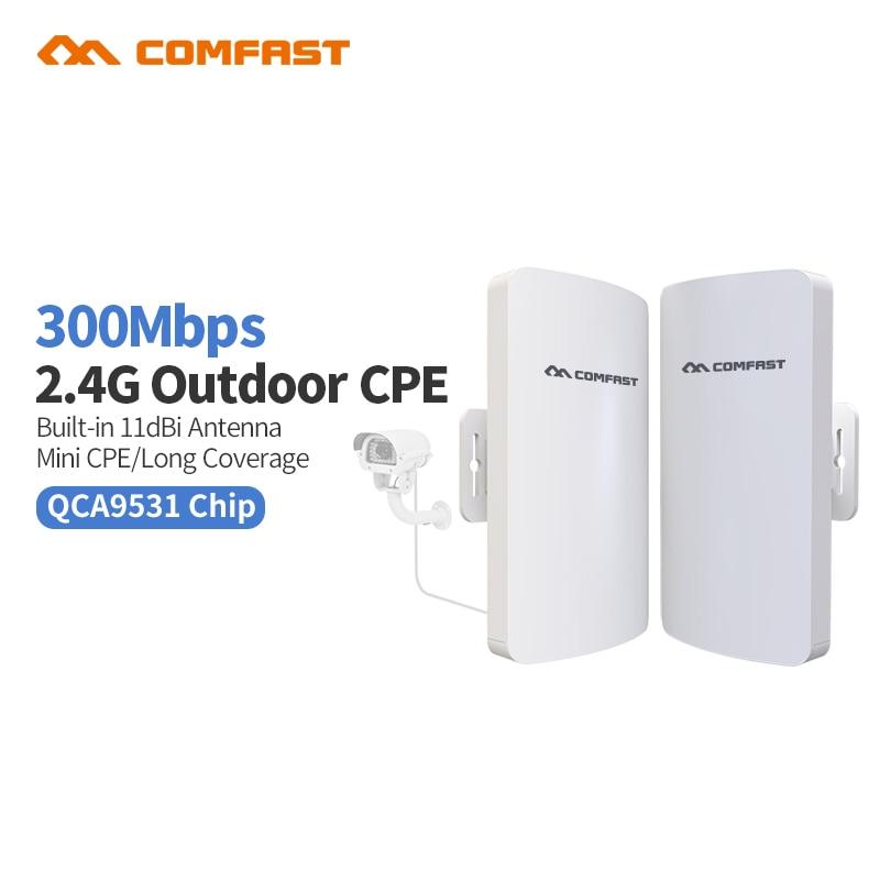 2 pc Comfast Extérieure Mi WIFI Amplification Répéteur 2 300 Mbps Sans Fil Routeur Repitidor Signal Expander Amplificateur CF-E110N Pont
