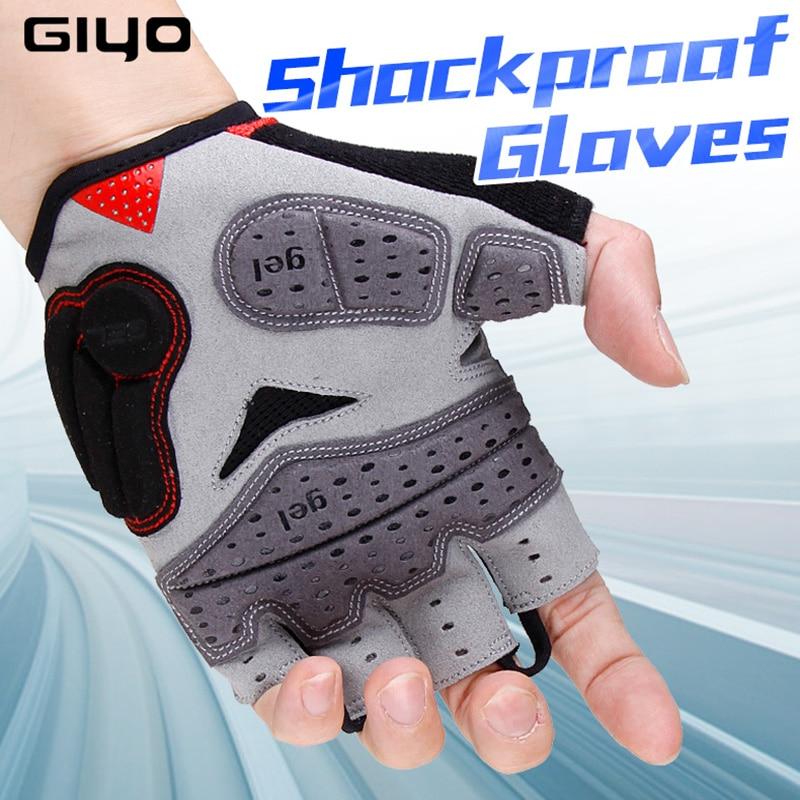 GIYO Summer Cycling Gloves Gel Half Finger Shockproof Sport Gym Gloves MTB Mountain Bicycle Bike Gloves For Men/women Antil-skip