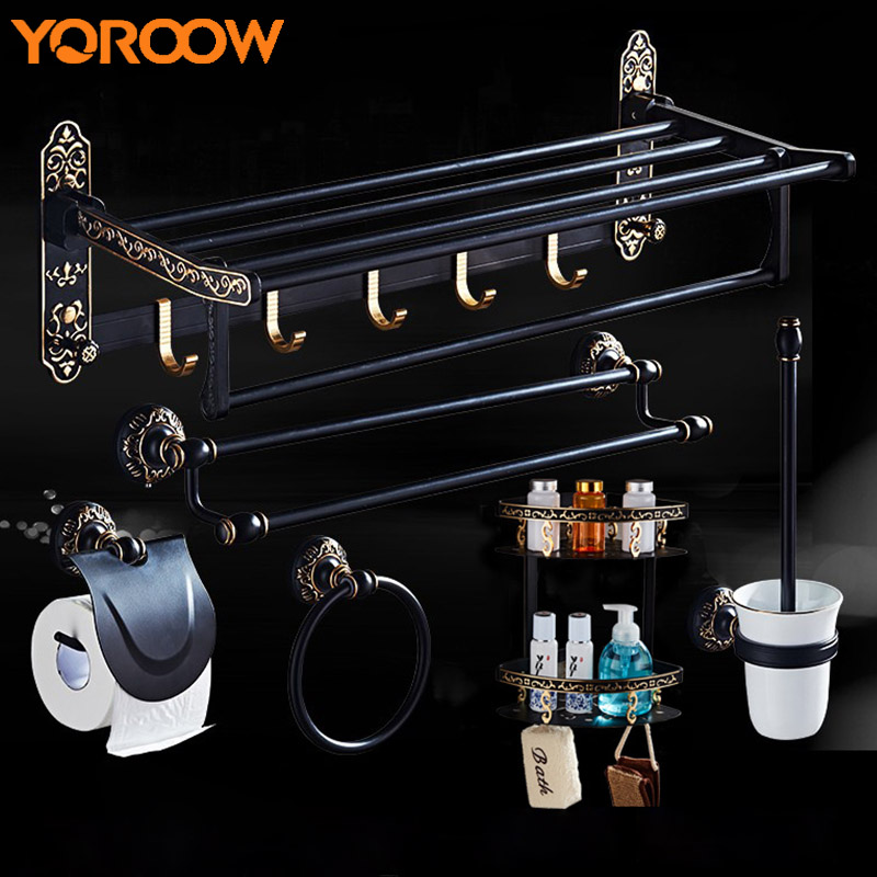 Black Wall Shelf Metal Shelve Towel Bar Hanger Hair Basket Paper Holder Rack Soap Hook Aluminum Suction Cup Bathroom Set SG0011 beili hqs g105830 handy suction cup pc stainless steel hook hanger white silver