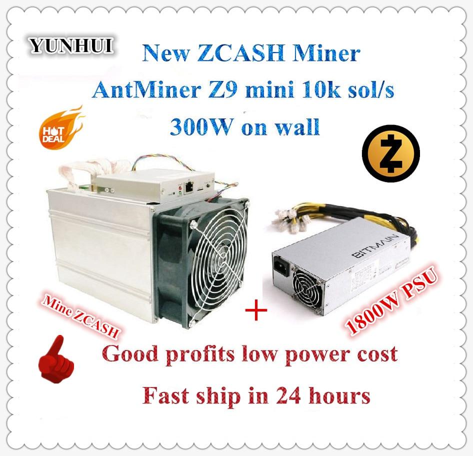 Доставка в течение 24 часов ZCASH Шахтер Antminer Z9 мини 10 К Sol/s 300 Вт с Bitmain APW7 1800 вт PSU хорошую прибыль лучше, чем A9 S9 до 14 К