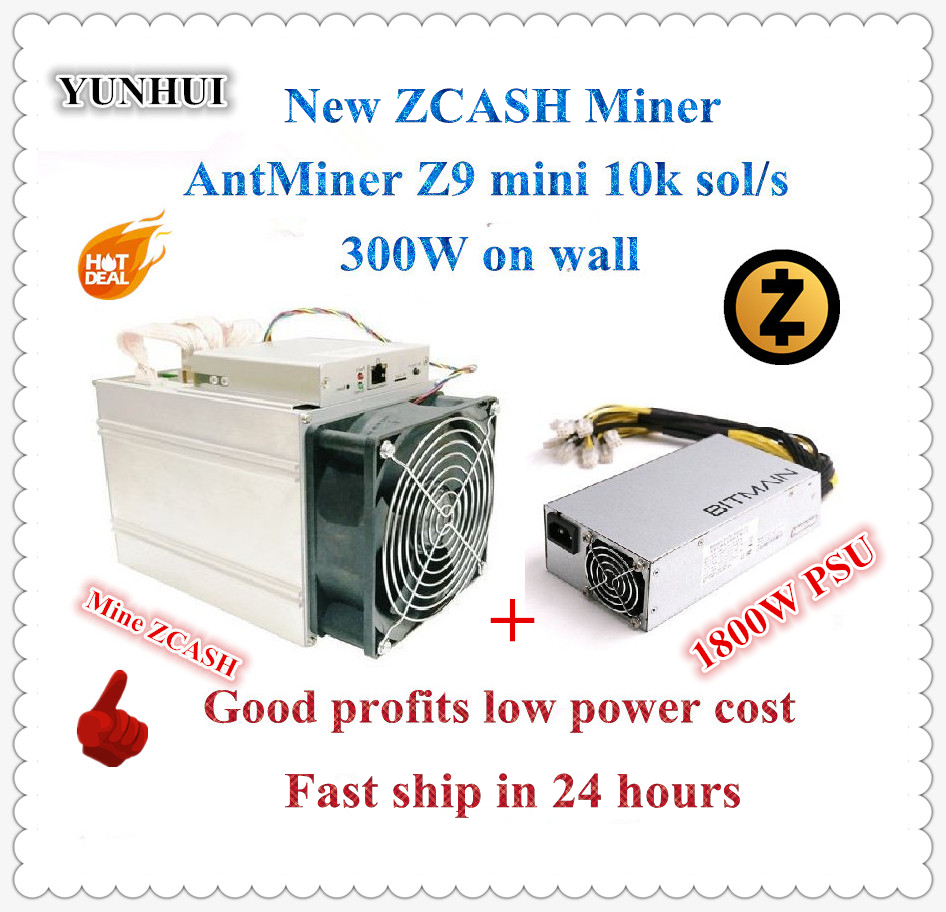 In stock new ZCASH Miner Antminer Z9 Mini 10k Sol/s 300W With Bitmain APW7 1800W PSU Good Profit better than A9 S9 to 14k Sol/s цена 2017