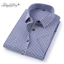 Davydaisy 2018 Новое поступление Лето Для мужчин рубашка с короткими рукавами в клетку и полоску модная Рабочая Повседневная рубашка мужская официальная рубашка ds227