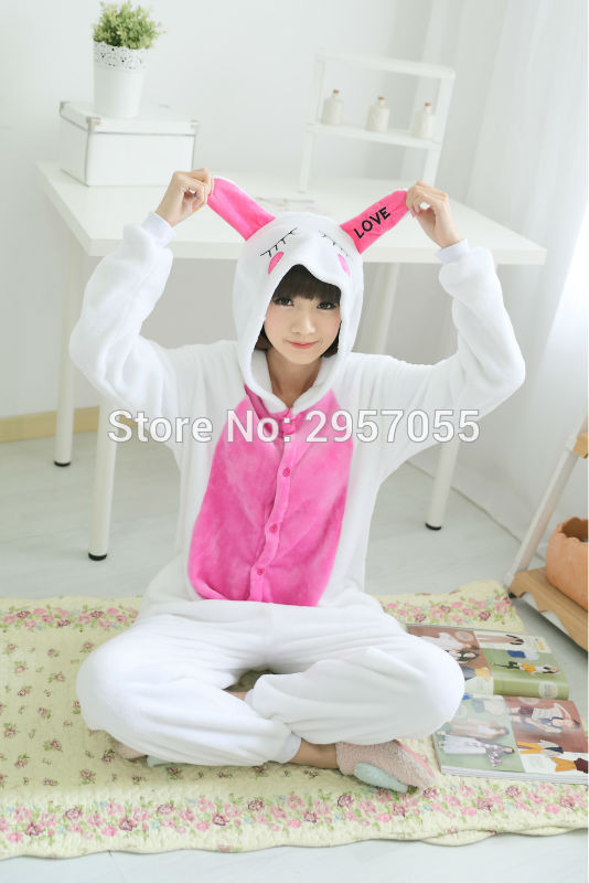 New Unisex Adult Flannel Pajamas Animal Pyjama Suits Cosplay Adult Winter Garment Cute Cartoon Animal Pajama Love rabbit