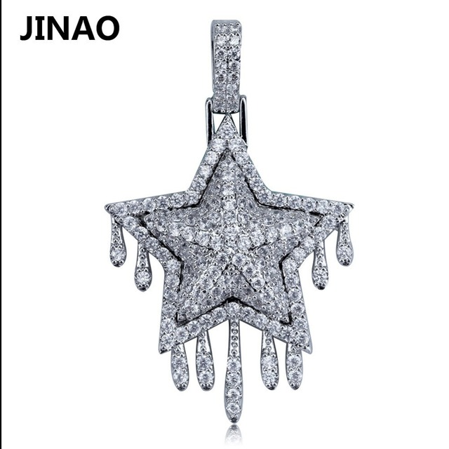 JINAO Fashion Iced Out Metor Drip Star Pendant & Necklace Crystal Statement Cubic Zircon Charms Hip Hop Men's Jewelry Gifts
