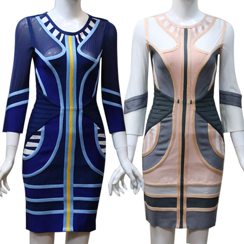 Robes Gros Longues Les Spéciale En Bleu Arrivée Nouvelle À Bleu Celebrity Tricoter Cocktail Bandage Printemps rose Pour Femmes Occasion Manches 2018 QdBrCxtsh
