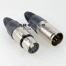 10pcs XLR Male Female Connector 5 Pin XLR Microphone Audio Connector Plug 10pcs lot original neutrik nc3fxx female a set 3 pin xlr connector withe song xin is fake piracy