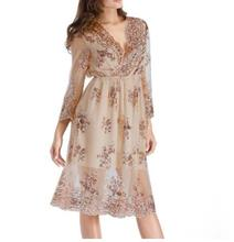 Champagne Sequin Party Dress summer sexy Long sleeve V-neck Women Sexy Lace Mesh Patchwork loose Mid dress
