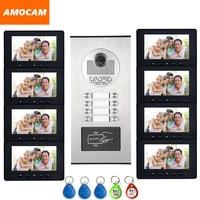 8 единиц Интерком квартиры система видео дверной телефон домофон HD камера 7 монитор видео дверной звонок 5 RFID карта для 8 бытовой