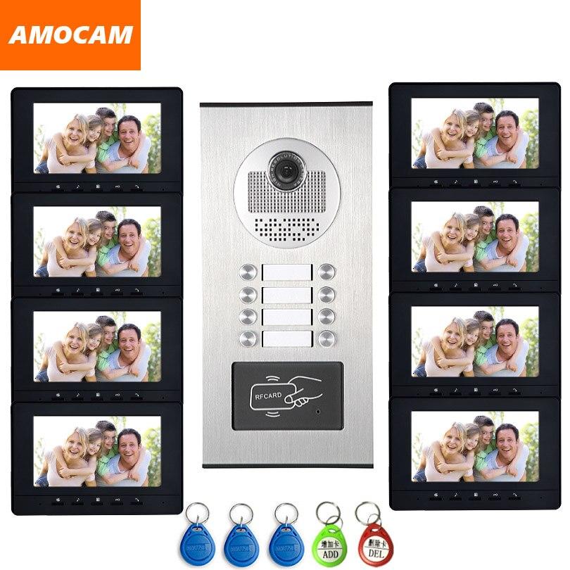 8 Units Apartment intercom system Video Door Phone Door Intercom HD Camera 7 Monitor video Doorbell 5-RFID Card for 8 Household