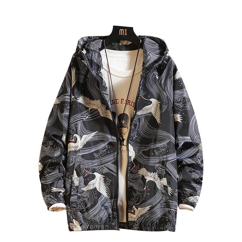 Men Hooded Thin Bomber Jacket Safari Style Summer Autumn Print Sunscreen Jackets Outdoor Breathable Light Tops Quick-dry Coat