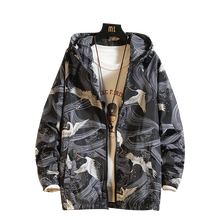 Men Hooded Thin Bomber Jacket Safari style Summer Autumn Print Sunscreen