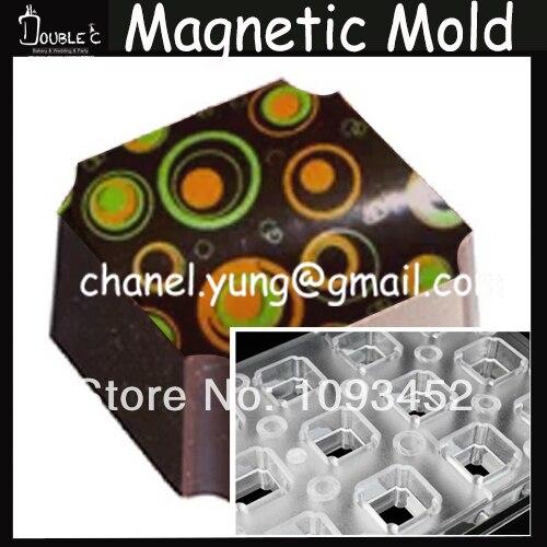 18 tazze di Forma Quadrata di Cioccolato In Acciaio Stampo Magnetico con Cioccolato Transfer Copriletto, Trasferimento Para Cioccolato, Attrezzi di Cottura.