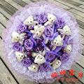 11 rosas 11 oso de peluche de peluche de dibujos animados ramo de flores falsas. lujo Raw Silk ramo de rosas. san valentín / regalo de la graduación