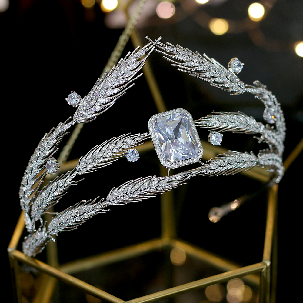 Clasico trigo oreja 3A CZ zirconia cubico novia novia plata tocado corona accesorios para el cabello