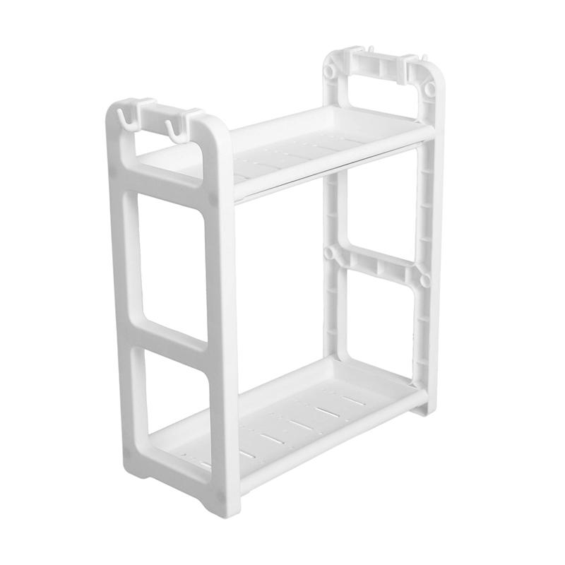 2 Tier Table Standing Rack Kitchen Bathroom Shelf Countertop Storage Organizer With Hooks White