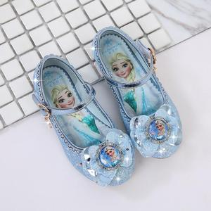 New Spring Autumn Kids Leather Flat Sandal For Girls Princess Elsa Dance Party School Children Shoes Butterfly Knot infant(China)