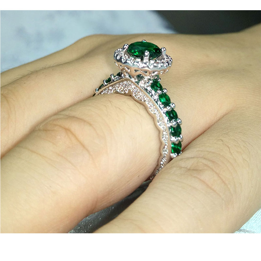 Vintage Emerald Green Wedding Rings Women Promise Cz Diamonds Inlaid Whole In Bands From Jewelry Accessories On