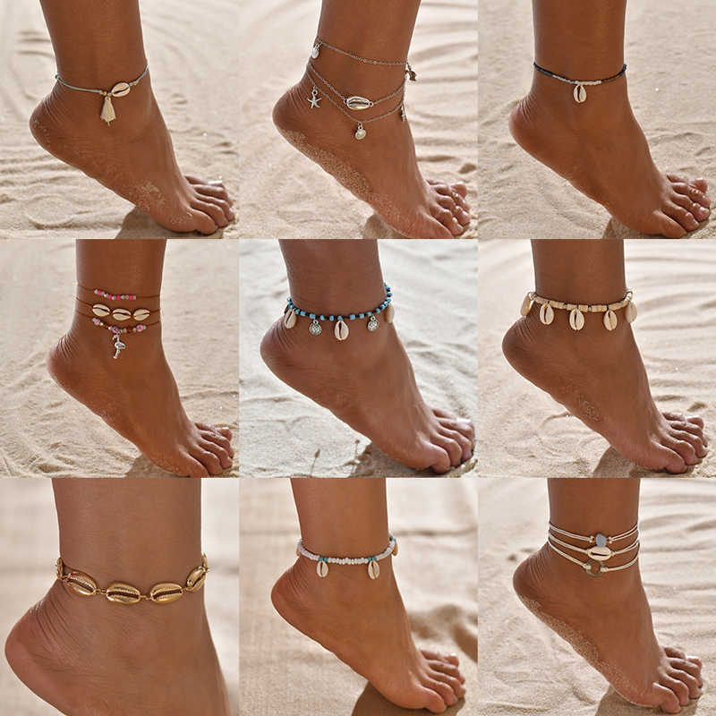 Yobest Bohemian Natural Sea Shell Conch Anklets For Women Ankle Bracelet on Leg Chain Shell Gold Boho Anklet Beach Foot Jewelry