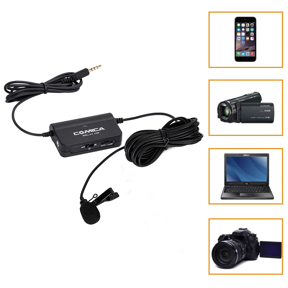 CoMica CVM V05 Single Lavalier Microphone with Stepless Gain Control Function Real time Monitor Universal for