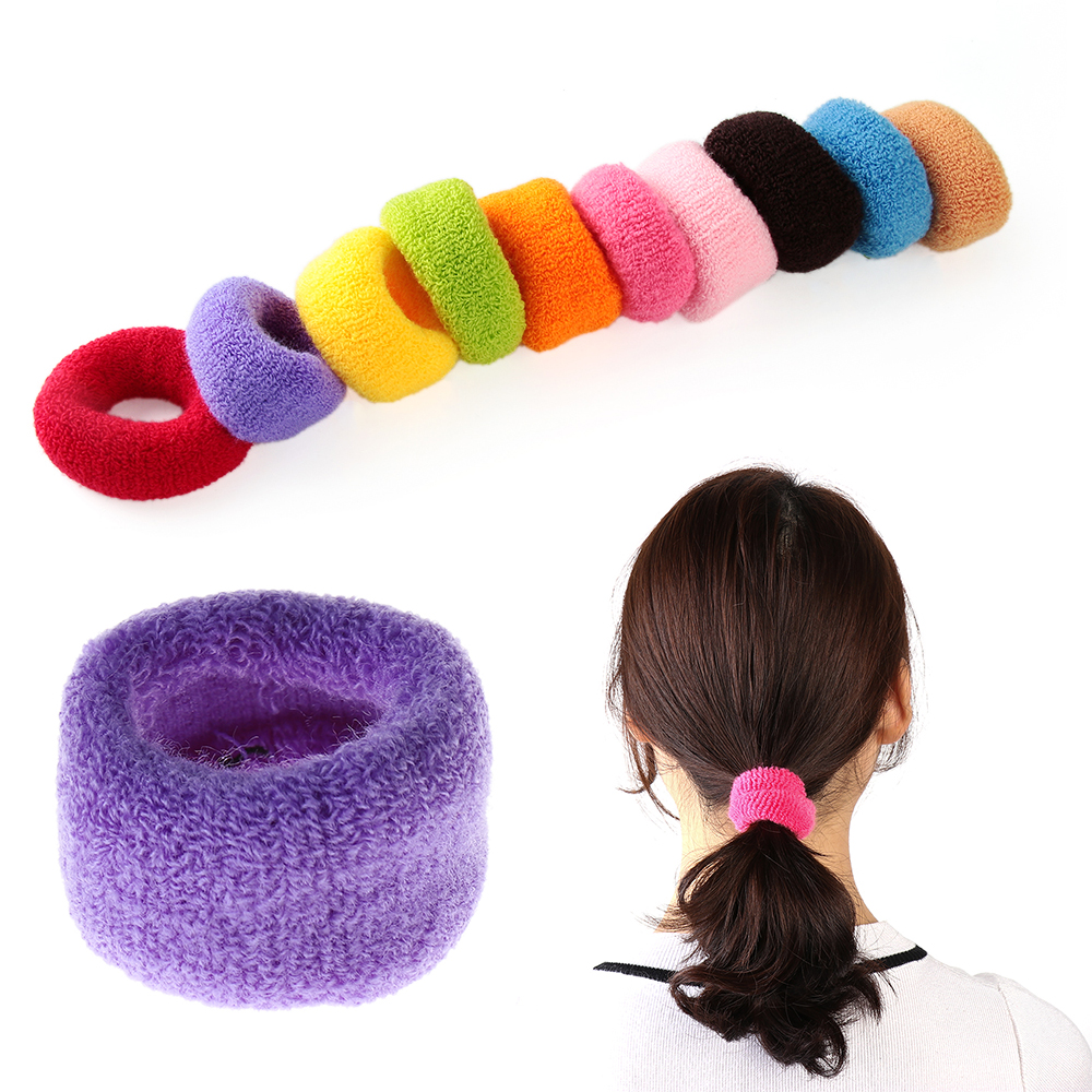 5PCS Women Fashion Big Wide Soft Rubber Bands Ponytail Elastic Hair Holders Candy Color Hair Accessories Hair Tie Rope For Women